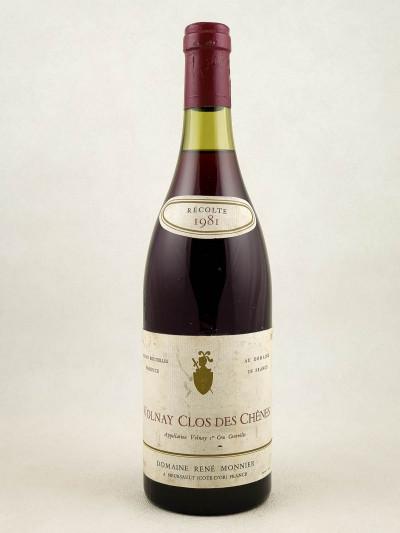 """René Monnier - Volnay 1er cru """"Clos des Chênes"""" 1981"""